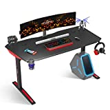Gaming Desk, 60' T Shaped Computer Gaming Desk, Gamer Tables Pro Carbon Coated, with Cup Holder Headphone Hook, Black