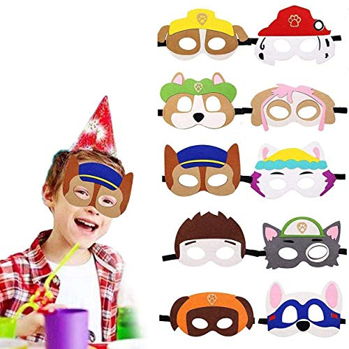Queta Kinder Masken, 10 Stück Paw Dog Patrol Spielzeug Puppy Party Cosplay Masken Augen Masken Gastgeschenke für Geburtstagsparty Maskerade Halloween