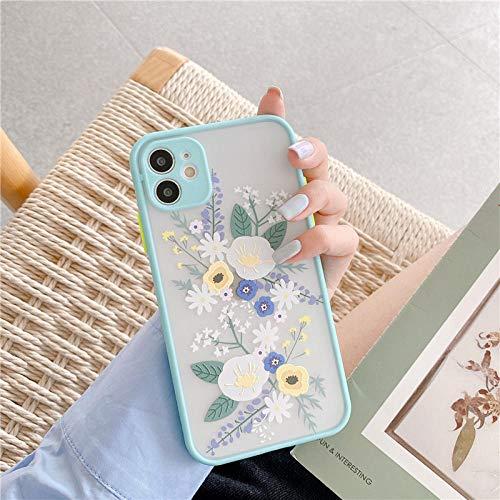 Funda de teléfono con Flores de Moda para iPhone 6 6S 7 8 11 12 Mini Plus XR X XS Pro MAX SE 2020 Funda Protectora Transparente a Prueba de Golpes-For_iPhone_7_A1_Light_Blue