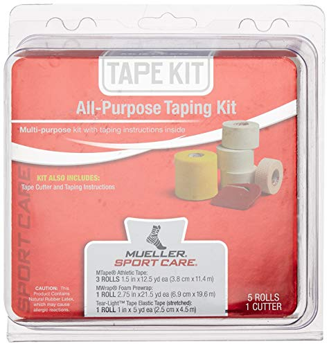 Mueller All-Purpose Taping Kit | Includes 3 Rolls Athletic Tape, 1 Roll Foam Prewrap, 1 Roll Tear-Light Tape, 1 Tape Cutter