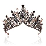 Baroque Black Queen Crowns for Women, Rhinestone Wedding Crowns and Tiaras Crystal Princess Crown Tiaras for Prom Birthday Party Valentines Costume