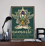 Inga Póster de yoga Namaste My Soul Honors Your Soul And We Are One Namaste, signo de yoga para amantes de la decoración de estudio de yoga, el mejor regalo divertido carteles de metal de 20 x 30 cm