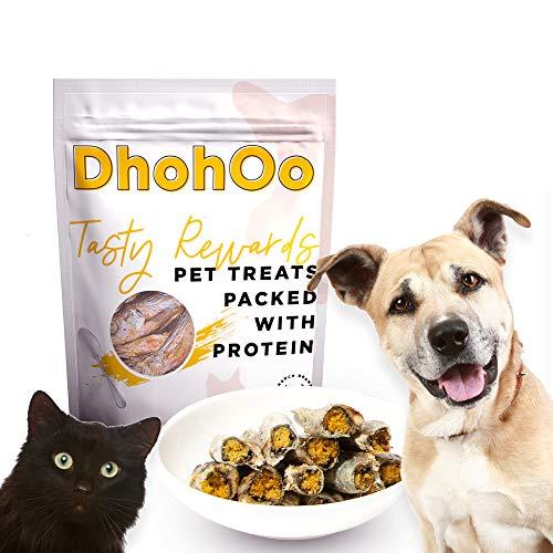 Dhohoo Snacks Liofilizados para Perros sin Cereales, Rico en Capra Proteico, Apto para Perros Mayores de 3 Meses. (Capelán, 100g)