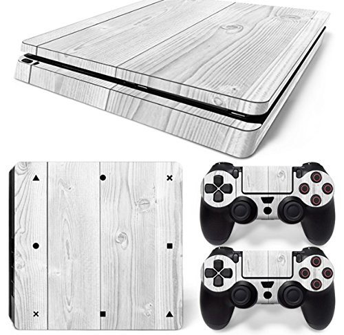 Mcbazel Pattern Series Vinyl Skin Sticker For PS4 Slim Controller & Console Protect Cover Decal Skin (White Wood)