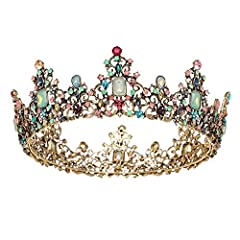 ♕ Material: crystal, alloy; Color: gold and multicolored ♕ Size: Approximately 2.3 inches in height, 5.8 inches in diameter; Weight: 0.46 lb, a little heavy will make you feel like the queen ♕ This baroque queen crown is a clustered rich statement pi...