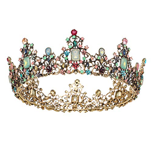 SWEETV Jeweled Baroque Queen Crown - Rhinestone Wedding Crowns and Tiaras for Women, Costume Party Hair Accessories with Gemstones