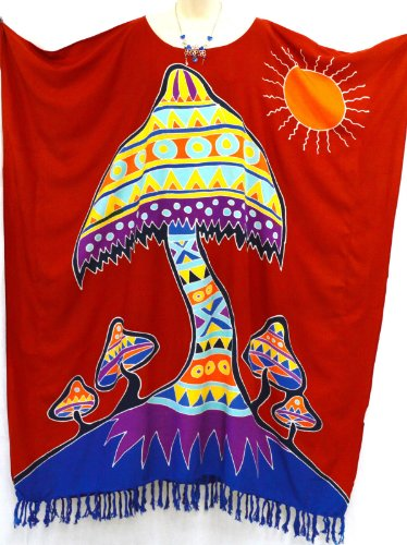 Cool Kaftans - Damen Kleid Funky Pilz Strand Kaftan Lang Ferien Sommer Künstler Oberteil Lang - Nicht angegeben, Kastanienbraun