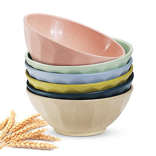 Lightweight Degradable Wheat Straw Bowls,Unbreakable Cereal Bowls, 24 OZ Lightweight Wheat Straw Bowl for Rice Noodle Soup Snack, Dishwasher & Microwave - BPA Free (6 Pack)