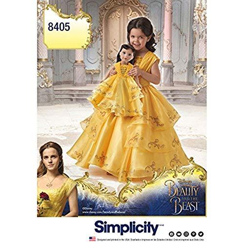 Simplicity - Cartamodello 8405 Disney Beauty And The Beast Costume per Bambola e Bambola da 45,7 cm, Colore: Bianco, 22 x 15 x 1 cm