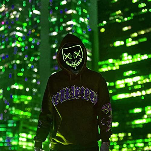 Máscara de Halloween con luz LED para fiestas, festivales, cosplay, M, Verde