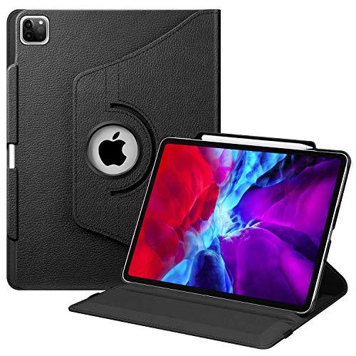 Fintie Hülle für iPad Pro 12.9 Zoll 2020 (4.Generation) und 2018 (3.Generation) mit Stifthalter - 360 Grad verstellbare Schutzhülle Cover mit Standfunktion, Auto Sleep/Wake, Schwarz