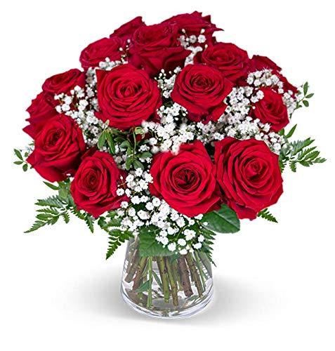 Blumenstrauß Liebesglück, roter Rosenstrauß, 7-Tage-Frischegarantie, Qualität vom Floristen, red Naomi Rosen, Schleierkraut, GRATIS-Vase, perfekte Geschenkidee, versandkostenfrei bestellen