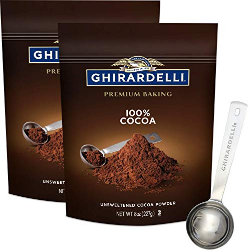 Ghirardelli Unsweetened Cocoa Powder Pouch 8 Ounce (Pack of 2) with Limited Edition Measuring Spoon