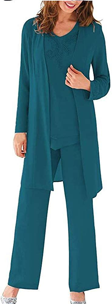 Women's Three Pieces Evening Dress Mother of The Bride Dresses Chiffon Pant Suits for Wedding Groom