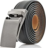 Marino Avenue Men's Genuine Leather Ratchet Dress Belt with Linxx Buckle - Gift Box - Gunblack - Black - Adjustable from 28' to 44' Waist