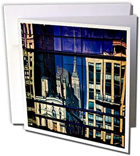 3dRose Window Reflection Buildings Manhattan City - Greeting Cards, 6 x 6 inches, set of 6 (gc_123860_1)