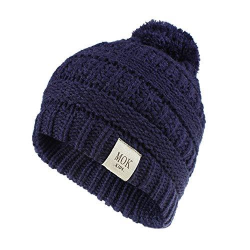 Winter Keep Warm Hats for Kids,Jchen Baby Kids Little Boys Girls Cute Cartoon Thicken Warm Knitted Hat Caps Child's Hairball Super Soft Hats for 1-8 Yrs (Navy)
