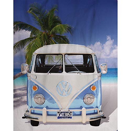 Originele Volkswagen fleecedeken, VW Bulli T1, blauw, 130 cm x 170 cm, camper-Van VW bus T1, deken, knuffeldeken, sprei, fleecedeken, knuffeldeken, knuffeldeken, woondeken, geschikt voor beddengoed 048