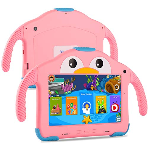Tablet for Toddlers Tablet Android Kids Tablet with WiFi Dual Camera 1GB 32GB Storage 1024 x 600 Screen Parental Control Google Playstore YouTube Netflix for Boys Girls Android 10