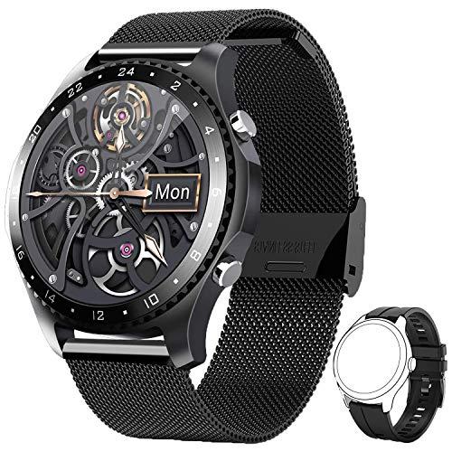 PHIPUDS Smartwatch,Reloj Inteligente con Llamada,Pulsómetro,Cronómetros,Calorías,Monitor de Sueño,música,Podómetro Monitores de Actividad Impermeable IP67 Compatible con Android iOS (Negro)