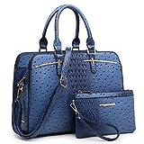 Dasein Women Satchel Handbags Shoulder Purses Totes Top Handle Work Bags with 3 Compartments (4-Dark Blue)