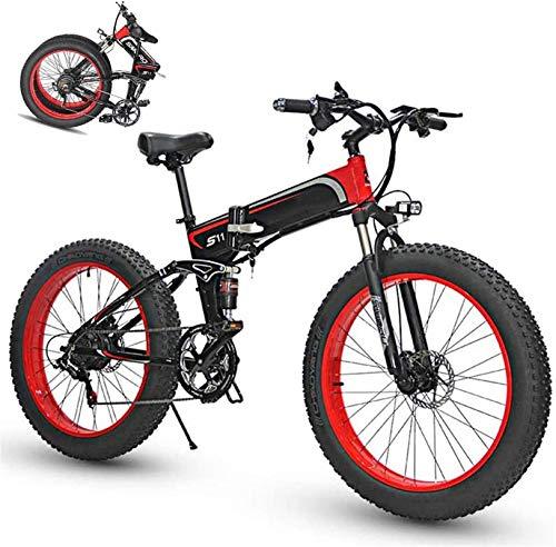 RDJM Bciclette Elettriche Pieghevole bici elettrica for adulti 7 Speed Shift mountain bike da 26 pollici ruote a raggi Electric Mountain bicicletta MTB doppia della sospensione della bicicletta 350W