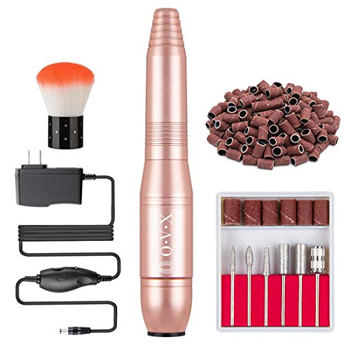 Portable Nail Drill Electric Nail File Professional 20000 RPM Manicure Pedicure Machine Nail File Drill Kit with Sanding Bands,Nail Drill Bits and Brushes for Acrylic Gel Nails(Gold)