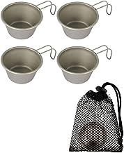 Yoohh 4 Stks Draagbare Mini Herbruikbare Cup Rvs Cups voor Kid Outdoor Camping Wijn Glas 50 ml Water Cups met Opbergtas Fa...
