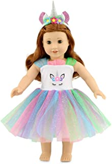 """Emily Rose 18 Inch Doll Clothes for Journey Girls  Unicorn Doll Dress with Headband 18"""" Doll Outfit   Compatible with Amer..."""