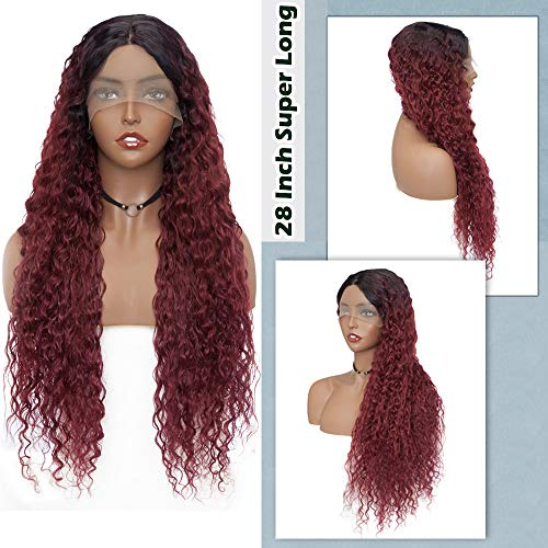 Hairro 28 Inch Super Long Curly Lace Front Wig Middle Part Ombre Synthetic Wavy Hair Affordable Afro Goddess Wigs Extra Length Corn Wave Hair with Frontal Lace Glueless 2 Tone Black to Wine Red