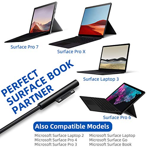 Surface Pro Surface Book Netzteil Ladegerät, 65W 15V 4A Adapter for Microsoft Surface Pro 7 Surface Laptop 3 Surface Pro X & Pro 6 Surface Book mit USB Port und 6ft Netzkabel inkl. Eine Tragetasche