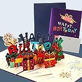 Tarjeta de Cumpleaños 3D, Tarjetas de Felicitación Cumpleaños, Happy Birthday Caja de Regalo Tarjeta de Felicitación Emergente con Sobre, Tarjeta de Cumpleaños para Familiares, Amigos, Amantes