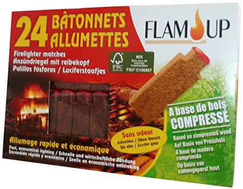 Flam'Up 0500 Allume-feu naturel Bois compresse 24 Bâtonnets