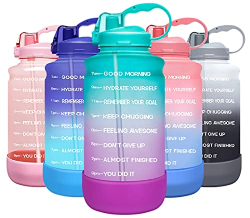 Best gallon water bottle - Elvira Large 1 Gallon/128 oz Motivational Time Marker Water Bottle with Straw & Protective Silicone Boot, BPA Free Anti-slip Leakproof for Fitness, Gym and Outdoor Sports-Green/Purple Gradient