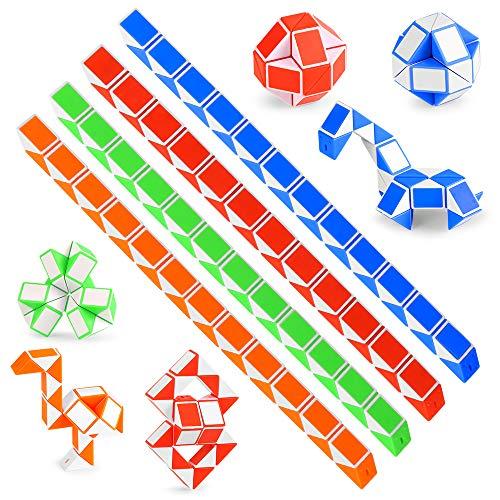 O-Kinee 12 Pack de 24 Bloques Magic Snake Cube, Mini Speed Cubes, Snake Twist Puzzle Toys para niños Llenadores de Bolsos para Fiestas, Favores de Fiesta, Color Aleatorio (12pcs-a)