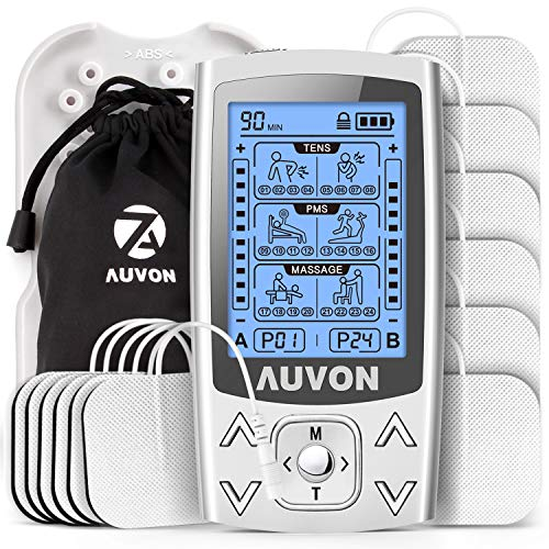 AUVON Dual Channel TENS EMS Machine for Pain Relief, 24 Modes TENS Unit Muscle...