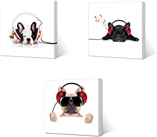 VVOVV Wall Decor - Canvas Prints Cool Dog With Sunglasses Listen To DJ Music Headphone Painting Animal Pictures Wall Decor Contemporary Giclee Artwork Stretched And Framed Wall Art