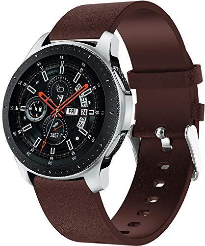 Correa de Reloj Compatible con Galaxy Watch 46mm / Galaxy Watch 3 45mm, Reloj de Pulsera de Piel auténtica, Estilo Vintage (22mm, Pattern 1)