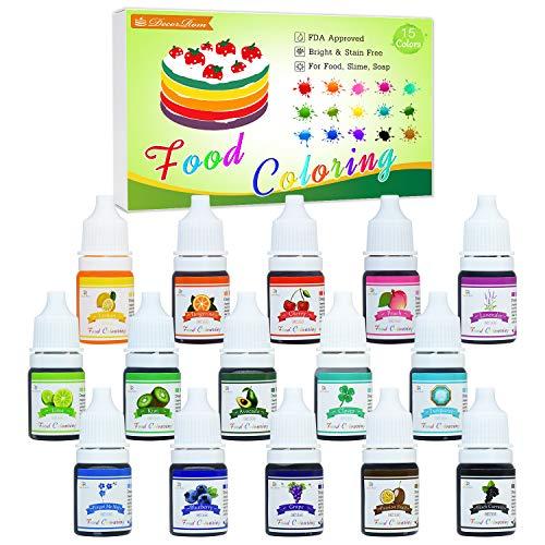 Lebensmittelfarbe - 15 Flüssige Hochkonzentrierte Lebensmittel Farben Set für Kuchen Backen, Macaron, Kekse - Food Coloring für Kuchendekoration, DIY Slime, Kunsthandwerk Einfärben - 6ml jeder