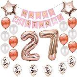 Lot de 27 ballons de décoration d'anniversaire - Or rose - 27 ans - Décoration d'anniversaire pour filles et femmes - Ballons en forme de chiffre 27 - Décoration pour fille - Or rose