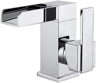 JIANGYE Cloakroom Deck Mounted Basin Sink Mixer Tap Modern Luxury Square Waterfall Monoblock Bathroom Faucet Single Handle Chrome Brass Lead Free