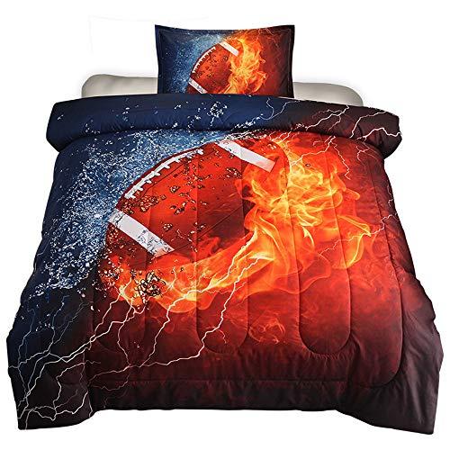 HTgroce 3D American Football Comforter Set for Boys Teens Sport Fans 2Piece Lightweight Microfiber Bedding Sets, Twin Size 68