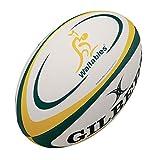 Wallabies Australie - Ballon de Rugby Réplique Officiel Blanc/Vert/Or - taille 5