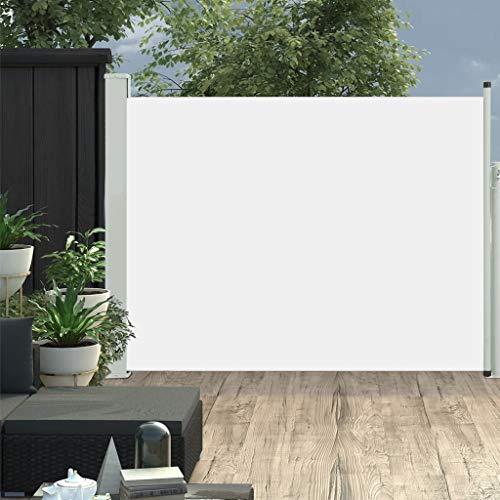 vidaXL Tenda da Sole Laterale Retrattile per Patio Privacy Automatica Schermo Parasole Frangivento 170x500 cm in Tessuto PU Crema Telaio in Ferro