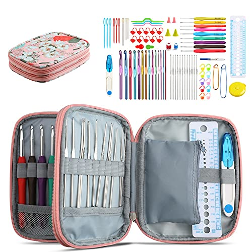 Katech 85 pcs Crochet Hooks Kit Knitting Accessories with Crochet Case, Small Sizes Crochet Hooks for Knitting Lace Yarn, Colorful Ergonomic Crochet Needles Set for Making Sweater, Bag and Hat (Pink)