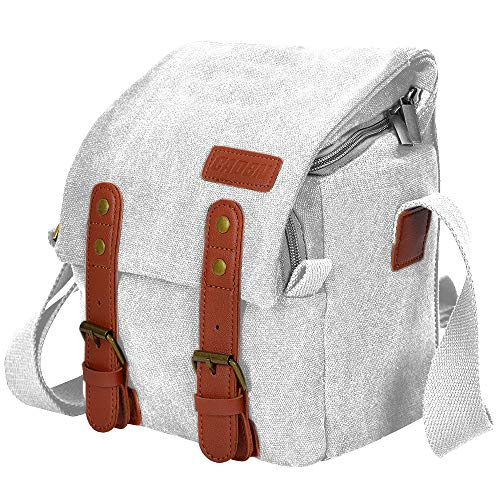 CADeN Compact Camera Bag Case Canvas Leather Trim Compatible for Nikon, Canon, Sony SLR/DSLR Mirrorless Camera and Lenses Waterproof, Camera Shoulder Messenger Bag White
