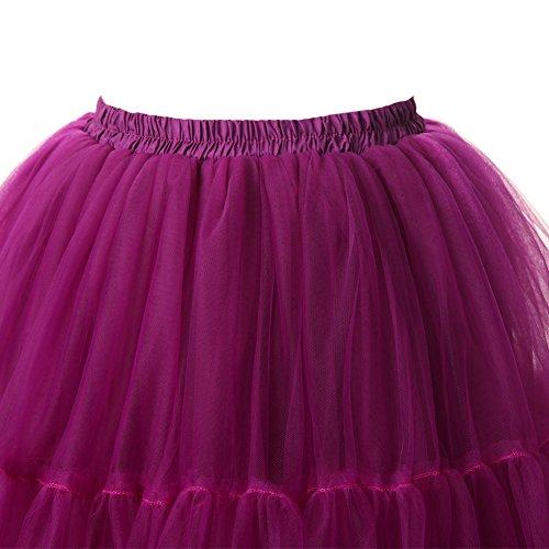 Izanoy Damen Vintage Tüllrock 5 Lage Prinzessin Falten Rock Tutu Petticoat Ballettrock Unterrock Pettiskirt Lila One Size/Einheitsgröße - 2