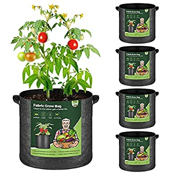 T4U Fabric Plant Grow Bags with Handles 7 Gallon Pack of 5 Heavy Duty Nonwoven Smart Garden Pot Thickened Aeration Nursery Container Black for Outdoor Potato Tomato Chili Carrot and Vegetables