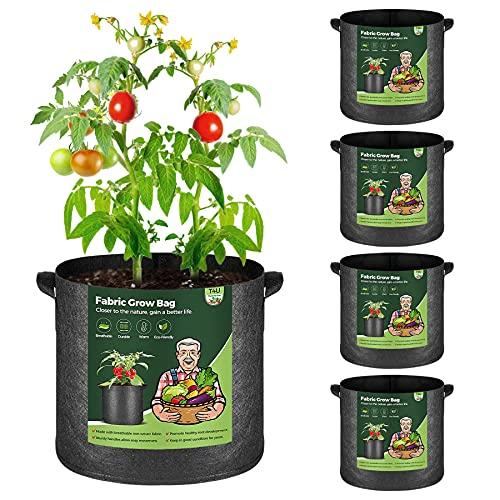 T4U 5 Stück 26L Pflanzsäcke aus Vliesstoff, 7 Gallonen Ф34cm Pflanztasche Pflanzgefäß mit Tragegriffe, Wiederverwendbar Pflanzbehälter Garten Wachsende Tasche für Kartoffeln Tomaten, Blumen