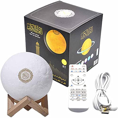 ATIN Luz de la luna 3D inalámbrico Coran altavoz reproductor de Coran Bluetooth lámpara+7 colores